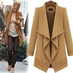 2 Couleurs grand revers long manteau veste en laine chemisier plus size trench-coat windcheater windcoat laine veste manteau d'hiver femme. ...