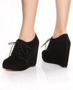 Chelsea Crew Escalate Black Suede Oxford Wedges  $87.00