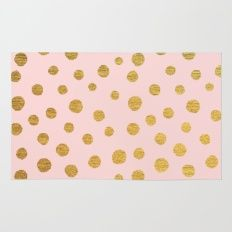 Rug featuring GOLDEN DOTS - PINK by Colorstudio