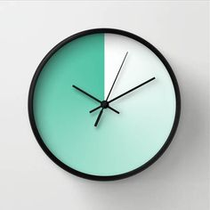 Mint shade wall clock, minimalist clock for modern environment, gift for friend, beach home clock, green turquoise tint, white and green