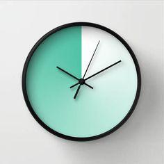 Orologio sfumato verde menta, orologio minimalista, ambiente moderno, regalo per amico, decoro casa sulla spiaggia, verde turchese bianco