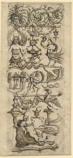 Ornamental panel with grotesque figures: vertical design in four tiers, with a chariot drawn by a griffin at the base Engraving, retouched and slightly coloured Print made by: Giovanni Antonio da Brescia Italian. Date1510-1520