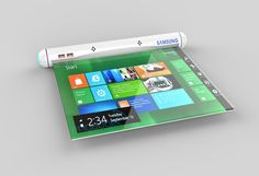 A Digi Roll-up! The Samsung Flexible Roll applies future flex tech to create the most portable tablet/laptop ever.