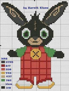 Bing Bunny, Stitch Patterns, Knitting Patterns, Cross Stitch Letters, C2c Crochet, Christmas 2015, Plastic Canvas Patterns, Hama Beads, Pixel Art