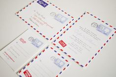 Airmail Wedding Invitation Set Printable Template. $85.00, via Etsy.
