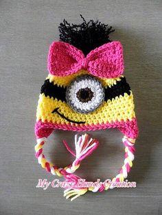 minion hat for girls, minion hat, crochet minion hat