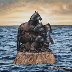 Ascension by artist, Amy Guidry. 8 inch by 8 inch; acrylic on canvas. #art #painting #surrealism #surrealist #surreal #contemporaryart #originalart #horses #ocean #sky #clouds #nature
