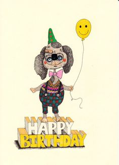 Illustrated Greetings Card, Happy Birthday by quinnknits