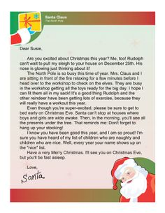 Full letter from santa that your kids will love 2 free printables letters from santa claus free free letters from santa spiritdancerdesigns Images