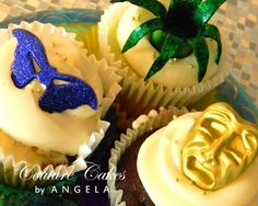 Multicolored Mardi Gras Cupcake  - my husband had to create a dessert display with a Mardi Gras theme so I googled a few items for his consideration.
