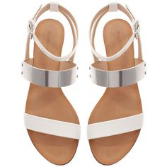 Zara Sandals With Metallic Detail ($20) ❤ liked on Polyvore featuring shoes, sandals, flats, flat sandals, zara, white, white sandals, white shoes, white flats and flat pumps