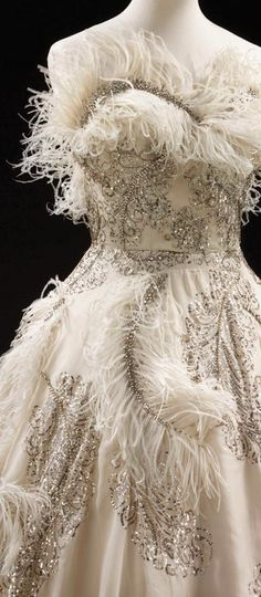 Evening dress by Pierre Balmainm. Organza embroidered with feathers and rhinestones, Paris about 1955.