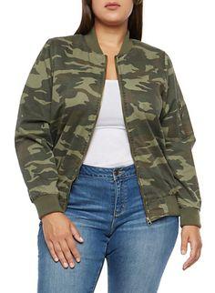 Plus Size Camo Twill Flight Jacket 7e8bb502729