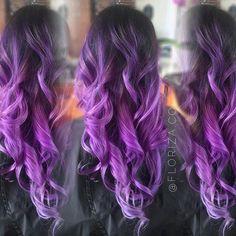 dark+brown+to+purple+ombre+curls