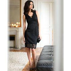 Vestido direito, acabamento em renda Laura Clement | La Redoute