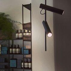 Aesop Islington - London, UK /// boutique / ceiling light / technical / decorative / projector on rod / directional /// Contact us - pslab.net