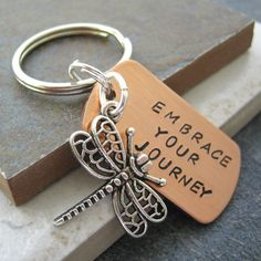 Embrace Your Journey Dragonfly Key Chain hand by riskybeads, $14.95