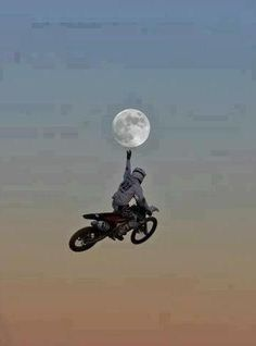 Dirt-biker reaches for the moon