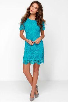 Black Swan Francesca Aqua Blue Lace Dress at Lulus.com!
