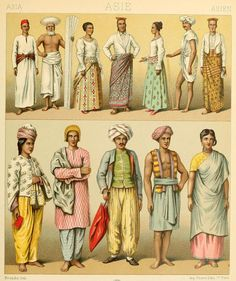 "OLD SRI LANKA AND MALDIVES: drawings from ""Le costume historique(…)"" vol.3 by Auguste Racinet, 1888."