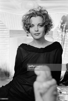 Austrian-born actress Romy Schneider at home, in France, in 1974 .