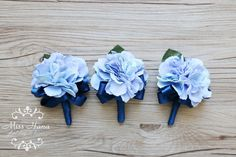 Hydrangea Boutonniere royal blue ribbon by MissHanaFloralDesign