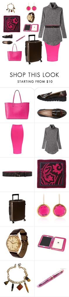 """""""Friday Meeting 2 (contest)"""" by scolab ❤ liked on Polyvore featuring Mondani, F.Lli Bruglia, Boohoo, Fendi, Diane Von Furstenberg, Rimowa, She Bee, OMEGA, Aspinal of London and Fountain"""