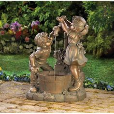 What's more refreshing than a cool drink on a hot day? Beautiful bronze-look fountain shows two children at innocent play in the garden. Weathered finish adds i