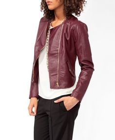 Paneled Stitch Racer Jacket - Burgundy
