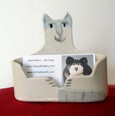 Cat Lover  Business card Holder Ragdoll kitten ceramic by firecat