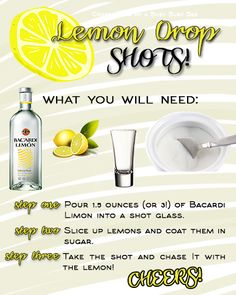 Lemon Drop Shots RECIPE, don't forget the 151 and the FIRE! =D