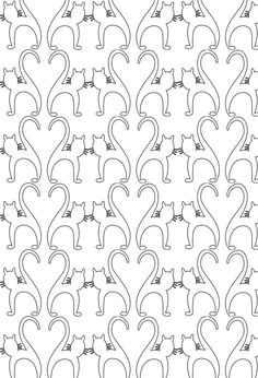 cats pattern colouring page