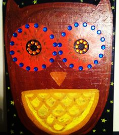 Owl painting with cd eyes
