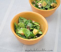 Spinach, Wild Rice and Avocado Salad with Sesame Dressing.  Vegan and can be gluten free too.