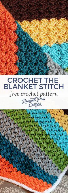 Crochet Blanket Stitch Pattern ⋆ Rescued Paw Designs Crochet