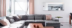 Lots of decorative cushions on comfortable corner sofa Yellow And Grey Curtains, White Curtains, Blinds Curtains, Layered Curtains, Luxury Curtains, Short Curtains, Ikea Curtains, Double Curtains, Nursery Curtains