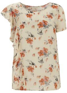 Rachel Print Top with Waterfall Frill & Cami in Coral Bloom