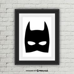 Superhero Batman Mask Print Superhero Batman Mask by WallArtLab