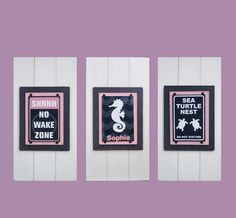 Framed Set of 3 FUN Girls Nautical Prints in by ProjectCottage