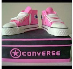 Pink Converse Shoes Cake! My teen has always been in love with Converse for the past 7 yrs!! She is getting this for 15th b-day!!
