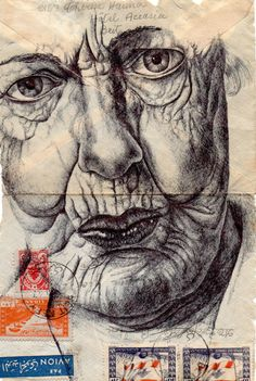 Artist - Mark Powell The artists particularity is to draw portraits of the elderly on the back of old envelopes. All of his marvellously detailed portraits are drawn with a Bic Biro pen. Portraits, Portrait Art, Amazing Drawings, Art Drawings, Amazing Artwork, Drawing Faces, Drawing Art, Drawing Ideas, Mark Powell