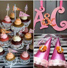 Festivos decorados, cupcakes y gorros para un primer cumpleaños / Festive decorations, cupcakes and party hats for a first birthday party