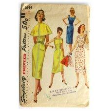 Vintage 1950's Dress Pattern Simplicity 1644 Slim Sheath Dress and Cape Bust 32