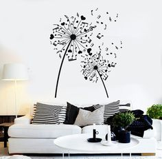 Vinyl Wall Decal Musical Dandelion Music Art Room Decoration Stickers Mural (346ig)
