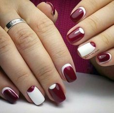 Top 35 Images for Half Moon Manicure you must tryThe half moon nail art style It's essentially something that you simply will suppose which supplies the impact of a half moon form on the nails.It's a extremely totally different quite nail art design, Maroon Nail Designs, Nail Art Designs, Nails Design, Trendy Nail Art, Easy Nail Art, Maroon Nails, Beautiful Nail Art, Nail Manicure, Manicure Ideas