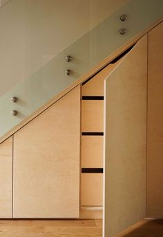 Plywood Wardrobes, Plywood Cabinets, Plywood Cupboards and Plywood Beds. Pure View Carpentry delivers bespoke furniture projects locally in London. Diy Understairs Storage, Alcove Storage, Plywood Storage, Alcove Cabinets, Plywood Cabinets, Plywood Kitchen, Staircase Outdoor, Modern Staircase, Staircase Runner