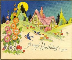 Birthday card with sweet cottage.