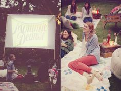 Movie Baby Shower~Daisychains & Paperplanes: Vintage backyard movie party