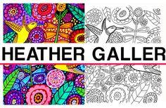 Hummingbirds Flowers coloring, garden coloring book, adult coloring book, coloring pages, adult coloring pages, coloring book , printable
