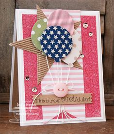 """It's a Good Day"" Balloon & Star Card...**Inge** - Cards and Paper Crafts at Splitcoaststampers."